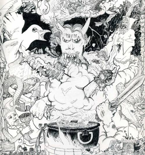 GALDRON: THIS IS SWORD METAL (2012) micron, and dip pen  An album cover I did out of fanly friendship. Off to get a better scan for the real deal now.