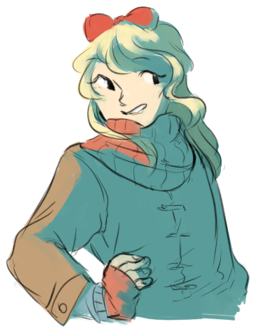 cappy47:  weird drawin of kyouko to commemorate winter! first snow was last night :'^O