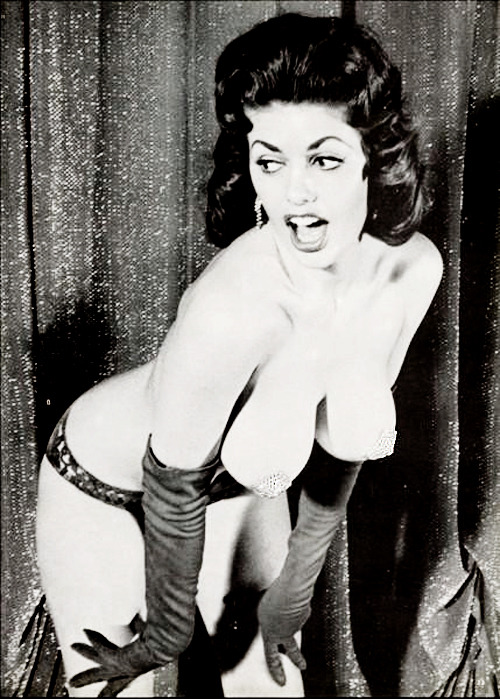 Burlesque dancer, Miss Beverly Hills (you might recognize her from Breakfast at Tiffany's) c. 1960's