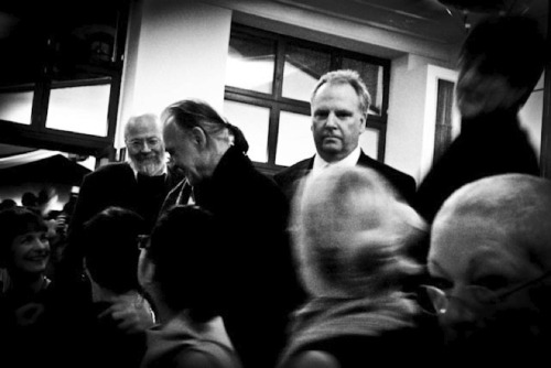 Béla Tarr & Guy Maddin. (Guy looks like he just caught me taking this photo.)