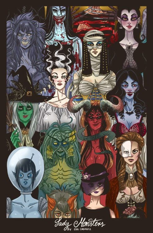 gothiccharmschool:  Lady Monsters, by Eva Cabrera. Wonderful