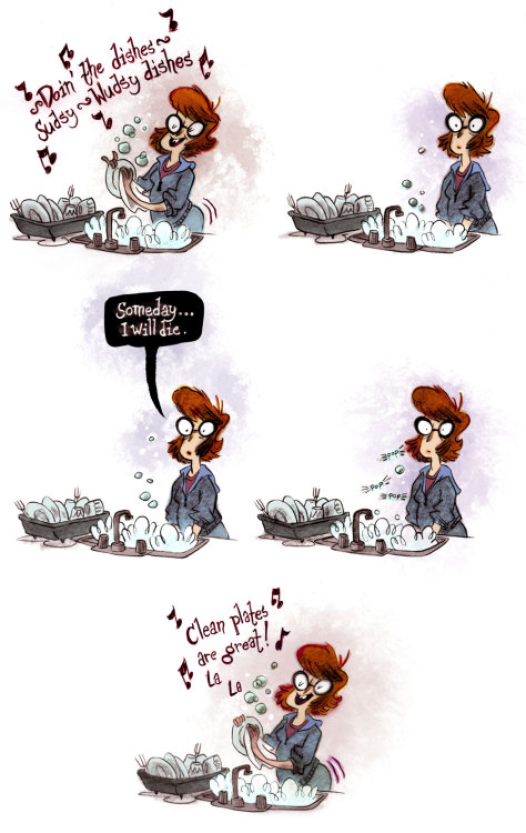A little comic about doing the dishes and death.