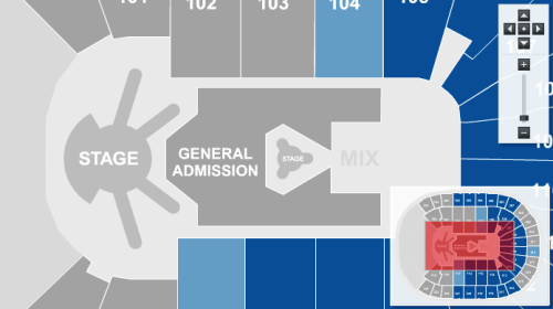According to one of the Ticketmaster.com websites, this is the new stage layout for the North American leg of The Born This Way Ball Tour. As you can see, there is one main stage with four catwalks and a smaller stage out in the middle of the audience. We'll continue to update if any more news becomes available. Update: Unfortunately this was a glitch on Ticketmaster.com's behalf. :(