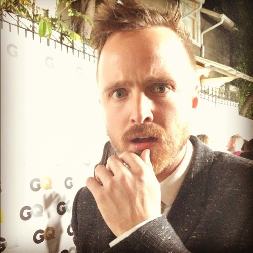 Aaron Paul, in @Burberry, giving us his fashion week look. #LFW #GQMOTY @breakingbad_amc @aaronpaul_8