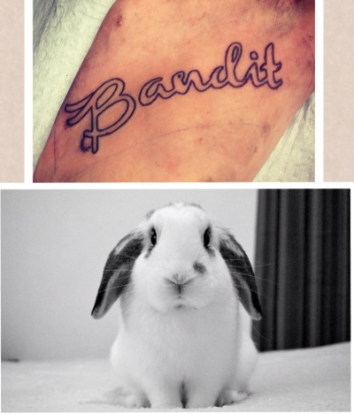 This is my 14th tattoo, in loving memory of my sweet bunny Bandit. He passed suddenly a week ago, and I've been quite heartbroken over it. He was very special to me and I couldn't think of a better way to pay tribute to his place in my heart than by giving him a place on my skin for the rest of my life.  Tattoo by Jason Saint at Mercy Seat Tattoo in Kansas City, Missouri