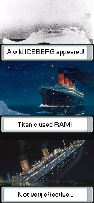"dorkly:  The Titanic's First and Last Pokemon Battle ""I'm Pokemon Champion of the world!""  Hahaha!"