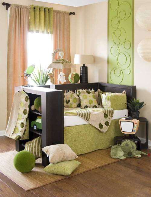 homedesigning:  Green Crib  Cool nursery idea