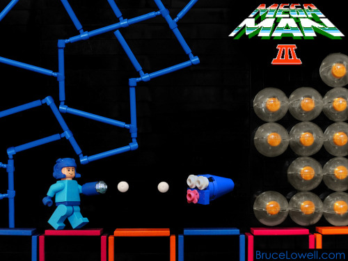 itlego:  Lego Mega Man III Mega Man traversing Gemini Man's stage (Mirror Tavern). Created by Bruce Lowell