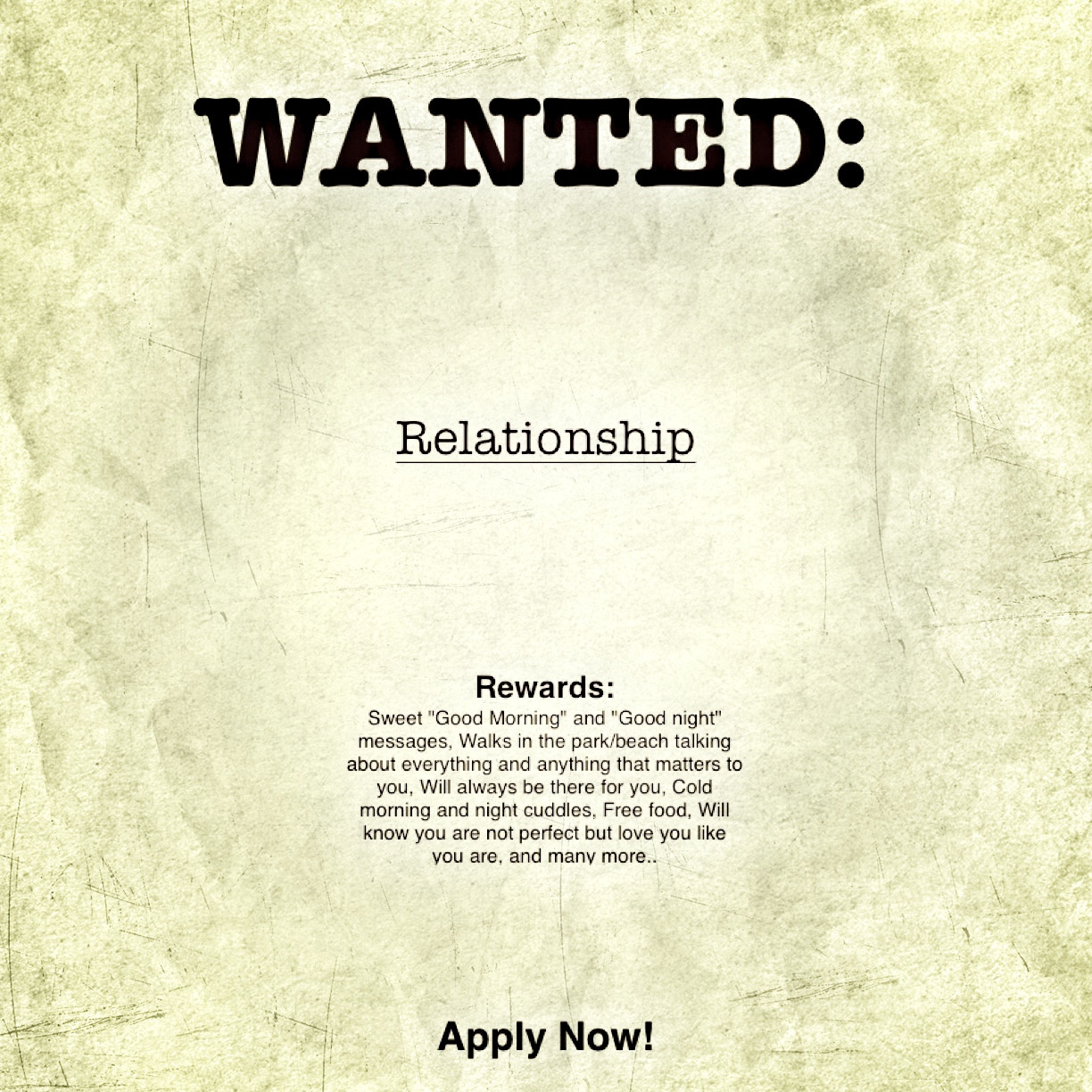 Wanted: Relationship