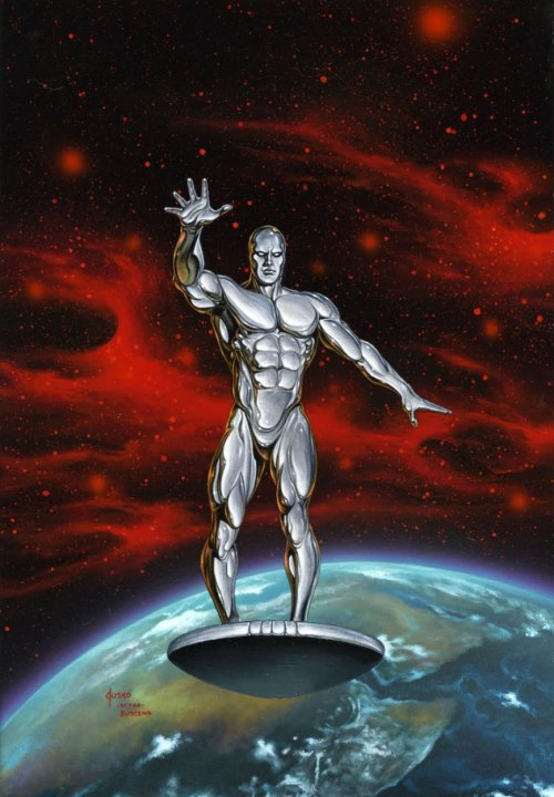 John Buscema and Joe Sinnott's cover for Silver Surfer #1 recreated by Joe Jusko