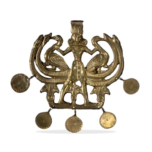 """Master of the animals"", gold pendant.  Aegina treasure. Aegina, Greece. 1700-1550 B.C. (Middle Minoan) [British Museum]"