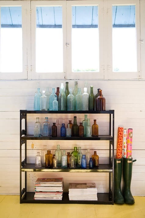 diy vintage bottles decor for the hallway