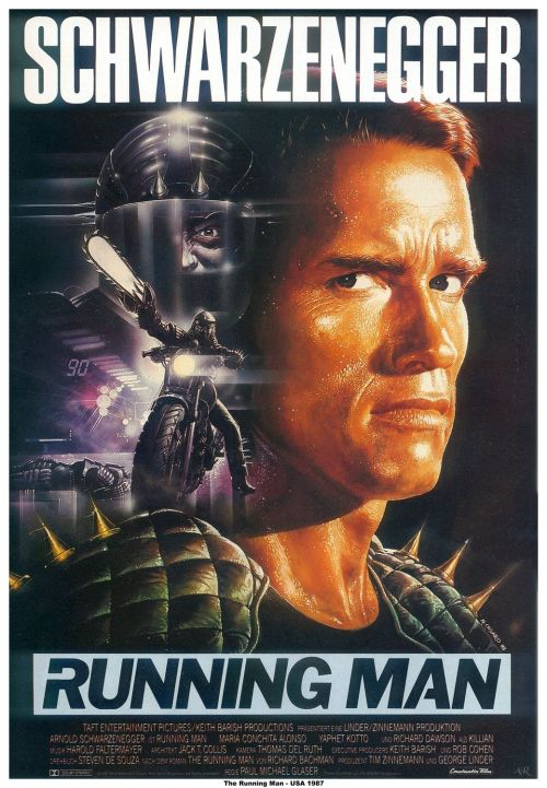 The Running Man (1987) Pros: For a Schwarzenegger action film from the 1980s this is possibly the most literate and intelligent entry if not in his entire career, at least from the earlier stage of his work (pre-'The Terminator'). No doubt the influence of using a novella from Stephen King as the basis for the film helps, and the commentary made by the movie on American television and society seems almost prescient of the recent phenomenon of reality TV. Whilst this is supposed to be Arnold's movie, Richard Dawson as Killian owns this movie. His evil game show compere is dripping with wit, satire and sheer cartoon nastiness. Whilst Arnie delivers his usual mix of heavily accented puns and muscular grunts it is Dawson who has the definitive character from 'The Running Man'. There are also some better than average cameos from a mix of character actors such as Jim Brown, Maria Conchito Alonso and Yaphet Kotto, pro-wrestlers (Jesse Ventura) and drop ins from the music world (i.e. Mick Fleetwood). Alonso is not exactly up to the same dramatic standard as she was in 'Moscow On the Hudson', and Jim Brown doesn't replicate his importance from 'The Dirty Dozen'. Yet the cast does what is needed to make what is effectively a better than average genre film. Cons: Arnie is not as strong a lead as he was in other films either immediately before or after 'The Running Man'. His Ben Richards is no 'Terminator', no John Matrix ('Commando'), no Dutch Schaefer ('Predator'). Having said that any Schwarzenegger fan would watch this movie with plenty of satisfaction. The satire is probably too obvious (we're not talking a Robert Altman film here), and it could be said that for a movie that targets the crass commericalism and debasing of American society through media manipulation in TV is just as guilty by foisting a violent action hero into the midst of a movie directed by an ex-70s TV actor (Paul Michael Glaser). With the action sequences fed into the movie in an episodic nature they lose some of their intensity and appeal when contrasted with the set-up scenes in the fake TV show hosted by Killian/Dawson. And unlike 'The Terminator' or 'Predator' the action is mostly cartoonish. Final Rating  2 out of 5 Bill Collins