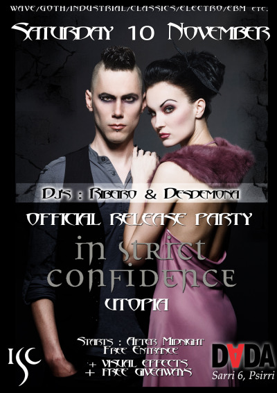 Poster for In Strict Confidence Releash Party @ DADA bar. 2012