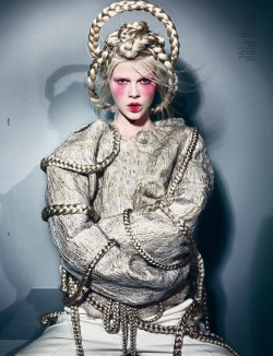Ruby Jean Wilson in straight jacket by Maurizio Anzeri and headpiece by Bob Recine, photographed by Richard Burbridge for Dazed & Confused November 2012.