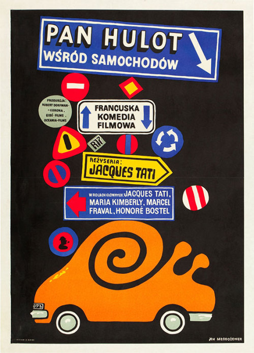 Polish poster for TRAFIC (Jacques Tati, France, 1971) Artist: Jan Mlodozeniec (1929-2000) [See also] Poster source: Heritage Auctions