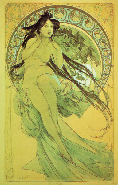 muchastyle:  Study for Music, 1898 Pencil and watercolour 560 x 348 mm Mucha Museum, Prague