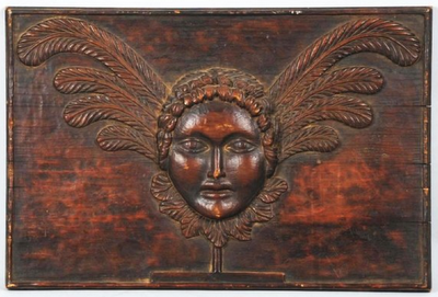 returnofcowboyprince:  Wood Carved Plaque of A Woman's Head, circa 1920's (Via Anonymous Works)