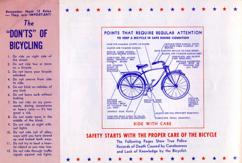 Bicycle safety manual circa 1969, spotted via Brain Pickings.