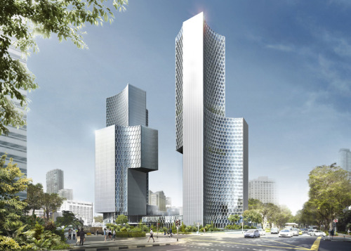 thekhooll:  Duo Buro Ole Scheeren  has unveiled a pair of skyscrapers with concave walls for Singapore's historic Kampong Glam district.  To be part of the Ophir-Rochor corridor? (Heehee learnt this from SSD2213! It's rly the mod I enjoyed the most in NUS and the most applicable in daily life in Singapore, given the amt of change we have.) Anw it stands on the land that Singapore gave Malaysia in exchange for the railway land right?