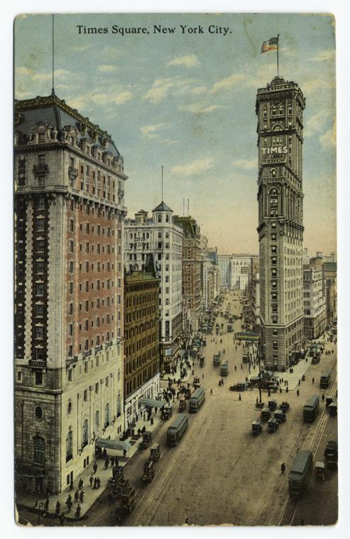Times Square apparently was quite pleasant, circa sometime in the 1910s, as depicted on this postcard. Part of the New York Public Library's awesome searchable digital archive of hundreds of thousands of documents and images.