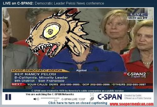 Screencap from the press conference by Nancy Pelosi, first shaved Chupacabra Speaker of the House (former). T-shirts Available.