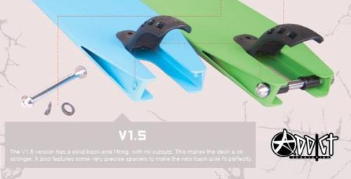 The V1 version deck had cutouts to fit the back-axle in the deck's profile. These cutouts made this specific spot weaker.The V1.5 version has a solid back-axle fitting, with no cutouts. This makes the deck stronger. It also features some very precise spacers to make the new back-axle fit perfectly.So drop outs are thicker than before. That'll solve the dropouts problems.