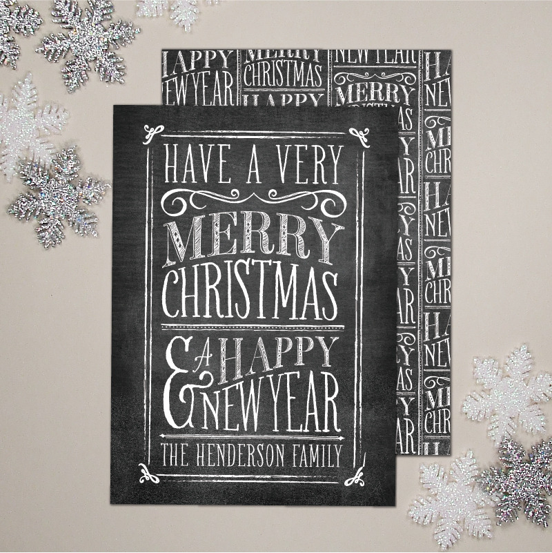 (via Banter and Charm — Chalkboard Lettering Christmas Greeting Card (set of 25))