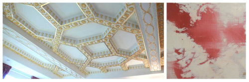 Where will you add red or gold in your home? Gold gilt with ceiling detail and our Distressed wall finish in red.    Source: Benjamin Lai