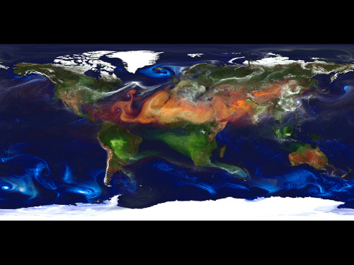 Portrait of Global Aerosols This portrait of global aerosols was produced by a GEOS-5 simulation at a 10-kilometer resolution. Dust (red) is lifted from the surface, sea salt (blue) swirls inside cyclones, smoke (green) rises from fires, and sulfate particles (white) stream from volcanoes and fossil fuel emissions. High-resolution global atmospheric modeling provides a unique tool to study the role of weather within Earth's climate system. The Goddard Earth Observing System Model, Version 5 (GEOS-5) is capable of simulating worldwide weather at resolutions of 10 to 3.5 kilometers (km).