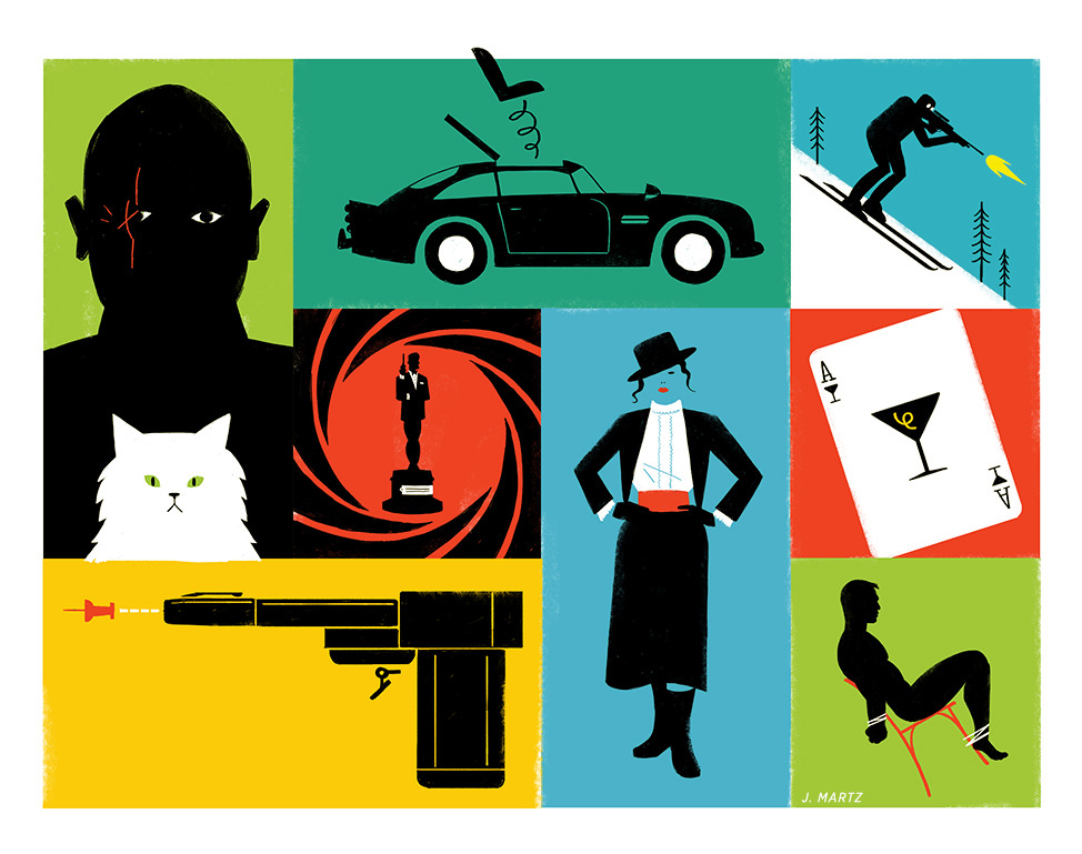 johnmartz:  Some recent spot illustrations for an article in the Globe and Mail about the best James Bond gadgets, villains, girls, etc.