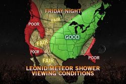 Viewing Conditions for Friday Night's Meteor Shower  The Leonid meteor shower peaks before dawn on Saturday as the Earth passes through debris left behind by the comet 55P/Tempel-Tuttle.
