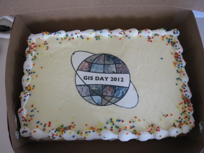 celebrating GIS Day 2012 with cake.  mmmmmm, color infrared orthophotos.
