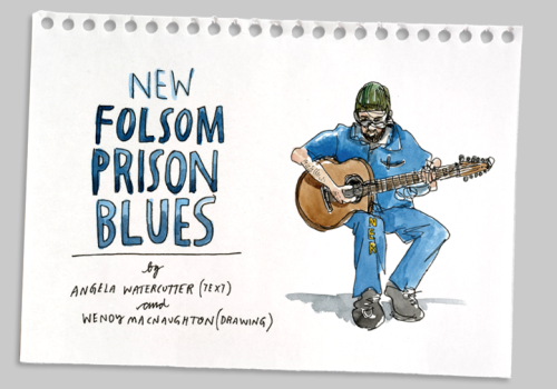 "Check out ""New Folsom Prison Blues"" on Cartoon Movement, by Angela Watercutter and Wendy MacNaughton, who reported on the prison's struggling arts program. There are no cameras allowed inside, but they didn't say anything about sketchbooks."