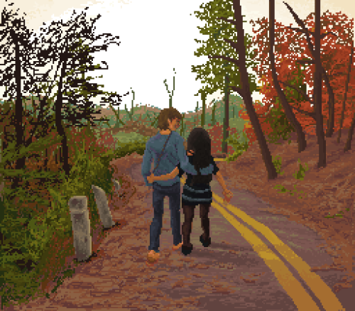 pixelette:  lovers taking a walk