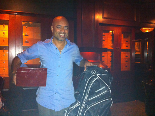 Silent auction winner of a humidor and golf bag Gentlemen for the Cure Event: Sponsored by Cutter's Cigar Lounge, Tinder Box and Rocky Patel Cigars