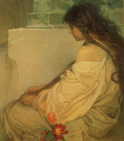 soyouthinkyoucansee:  Girl With Loose Hair And Tulips ARTIST- Alphonse Mucha COUNTRY OF ORIGIN- Czech Republic DATE OF CREATION- 1920