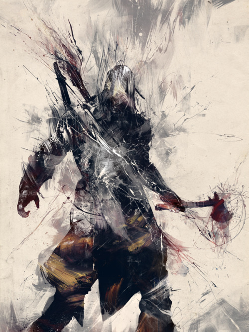 "Assassin's Creed III Poster Design by Russ Mills UK artist / illustrator Russ Mills (aka ""byroglyphics"") was commissioned by Ubisoft to create this awesome Assassin's Creed III poster design to go along with their prerelease special edition of the game. You can check out his entire series of design process images on Behance. Assassin's Creed III Poster by Russ Mills (Facebook) (Twitter)"