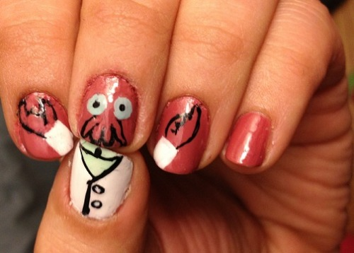 This is not the first example of Futurama nail-art we've seen. Not even the first Zoidberg-centric one. But this is definitely the best thing I've seen all day. Which is saying a lot, because I saw a video of a baby elephant taking a bath this morning. [via r/futurama]