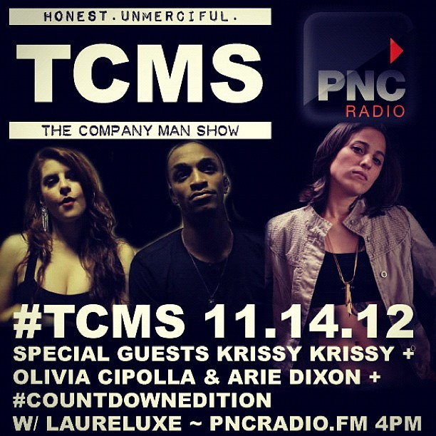 #TCMS TODAY! Krissy Krissy + Olivia Cipolla & Arie Dixon + NoemadNYC + Counting Down Top Songs Of November 2002 w/ @laureluxe PNCRadio.fm 4 to 6 PM #brooklyn #thecompanyman #thecompanymanshow #newyorkcity #hiphop