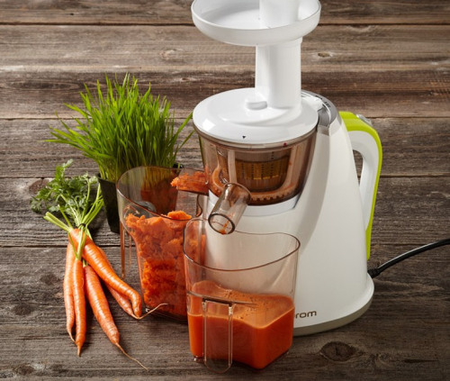 Hurom Slow Juicer. The juice is loose (and you will be too, after a few fruit-juice-based cocktails).