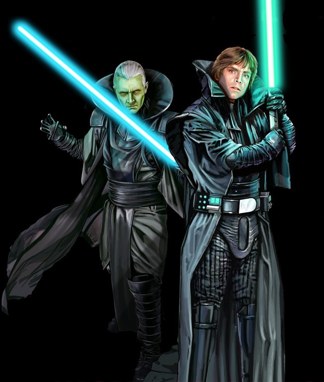 theempireblogsback:  Luke and the cloned Emperor Palpatine  All I can think when I see this is BIG. POPPED. COLLARS. OF EVIL.