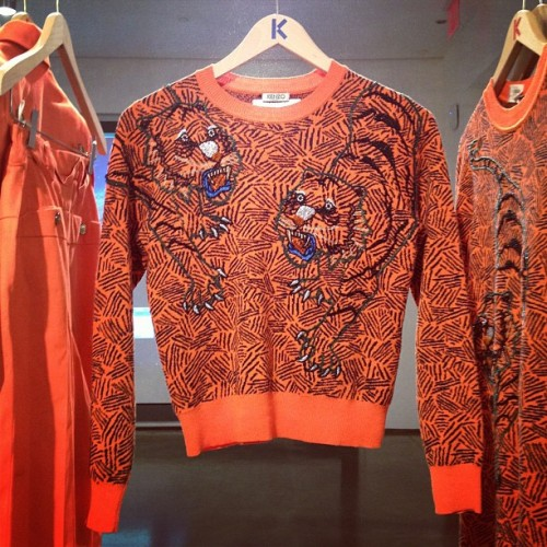 Wild tiger knit at Kenzo spring preview Photographed by Julia Rubin