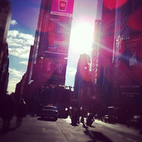 Sun in my face (at Times Square)