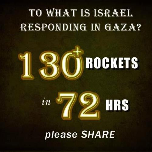 Why is Israel responding in Gaza?130 rockets were fired to Israel from Gaza in the last 72 hours. Almost 1000 rockets were fired in 2012More than 1,000,000 Israelis live under a threat.  [x]