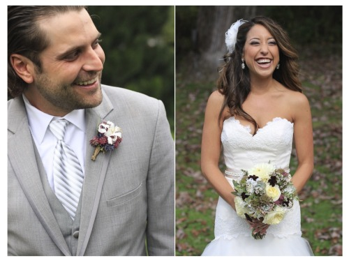 Each part of the couple caught in a moment of laughter and happiness