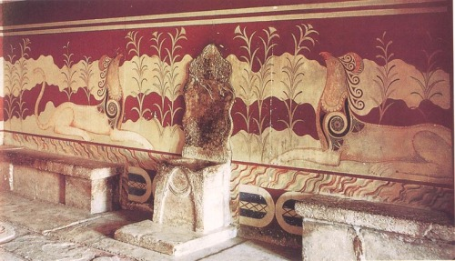 The Throne Room Palace of Knossos. Crete, Greece. c. 1450 B.C. (Late Minoan)
