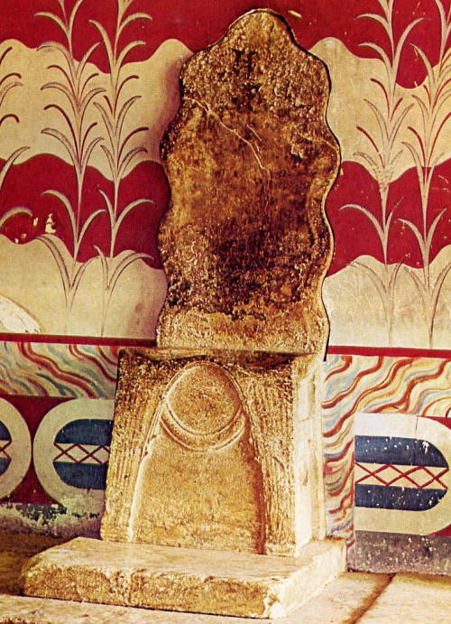 The Throne Roome Palace of Knossos. Crete, Greece. c. 1450 B.C. (Late Minoan)