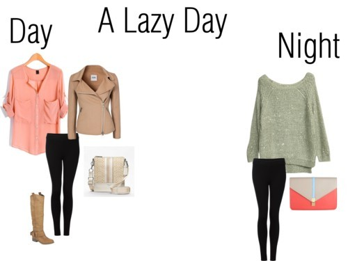 A Lazy Day to Night by alarr14 featuring crossbody bagsJumper sweater / Chiffon blouse / Moschino Cheap & Chic wool jacket, $875 / Vince black legging, $270 / Steve Madden kitten heels / Coach crossbody bag / Clutch handbag