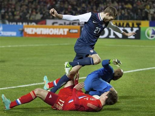 beneaththepool:  What led to a penalty kick and Russia's second goal. AP